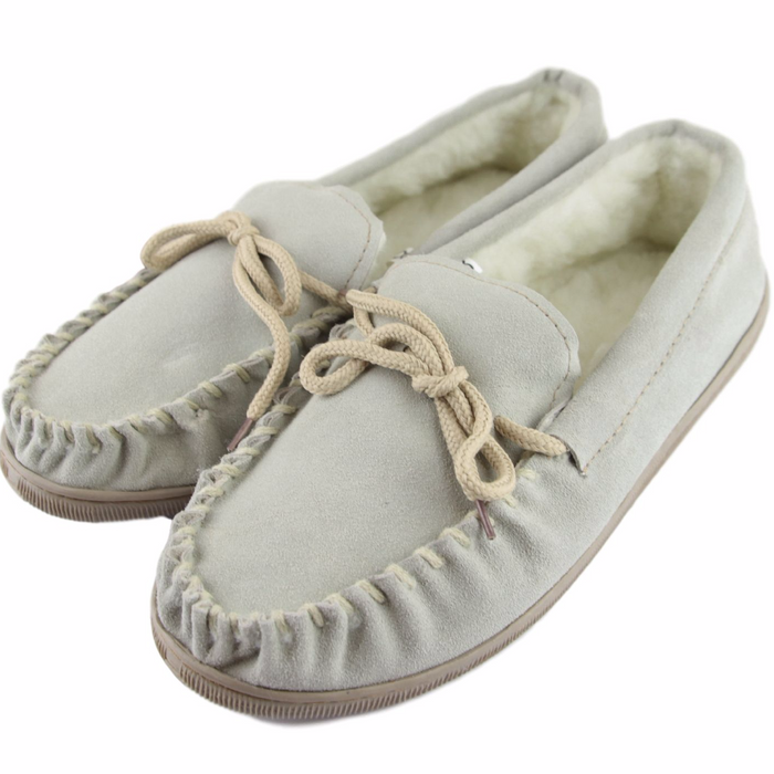 Men's 'Peter' Lambswool Moccasin with Extra Thick Hard Sole - Beige