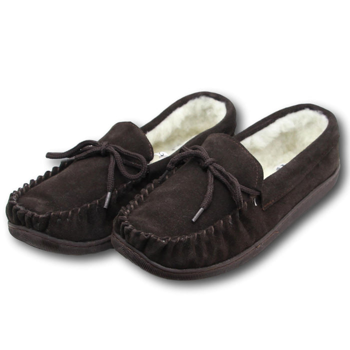 Men's 'Peter' Lambswool Moccasin with Extra Thick Hard Sole - Brown