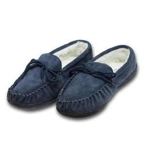 Men's 'Peter' Lambswool Moccasin with Extra Thick Hard Sole - Navy