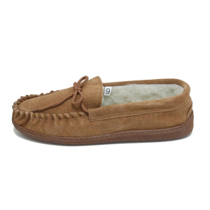 Men's 'Peter' Lambswool Moccasin with Extra Thick Hard Sole - Tan