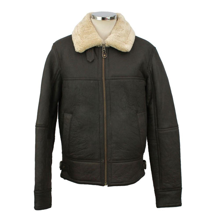 Men's Shaun Leather Sheepskin Jacket - Dark Brown Nappa