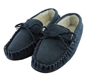 Men's 'Taylor' Lambswool Moccasin with Hard Sole - Navy