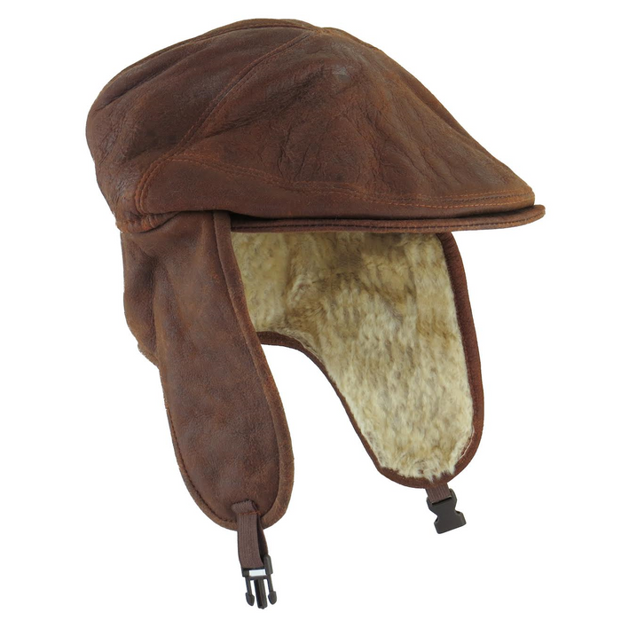Mens Brick Brown Sheepskin Aviator Cap - Newton Style