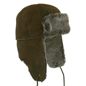 Mens Brown Tipped Double Faced Sheepskin Aviator Hat - Bourn Style