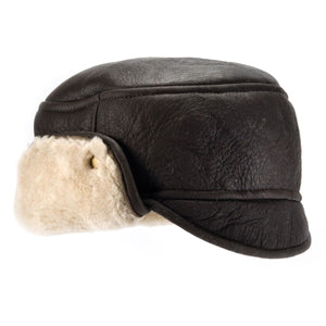 Mens Chocolate Trapper Sheepskin Hat - Caxton Design