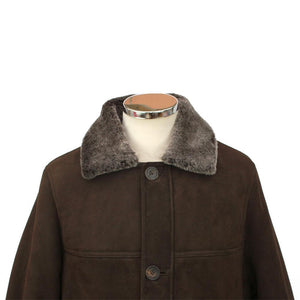 Mens Claude Suede Sheepskin Jacket - Chocolate