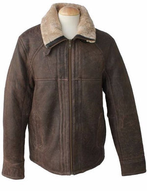 Mens Dean Leather Sheepskin Jacket - Chocolate Forest