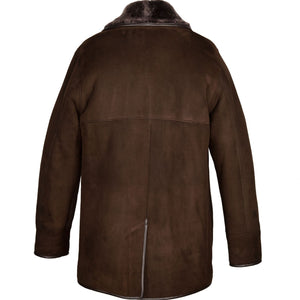 Mens Edward Suede Sheepskin Jacket - Chocolate