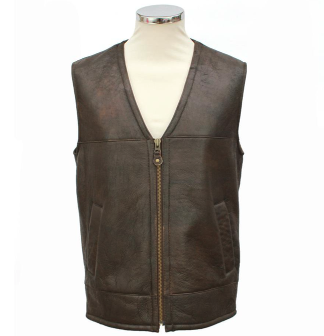 Mens Giles Leather Gilet Sheepskin Coat - Chocolate Forest