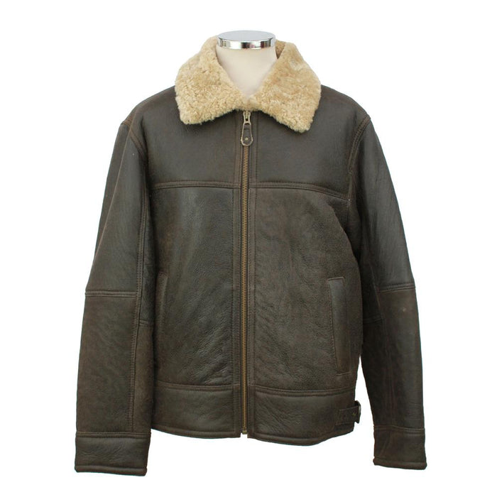 Mens Shaun Leather Sheepskin Jacket - Dark Brown Distressed