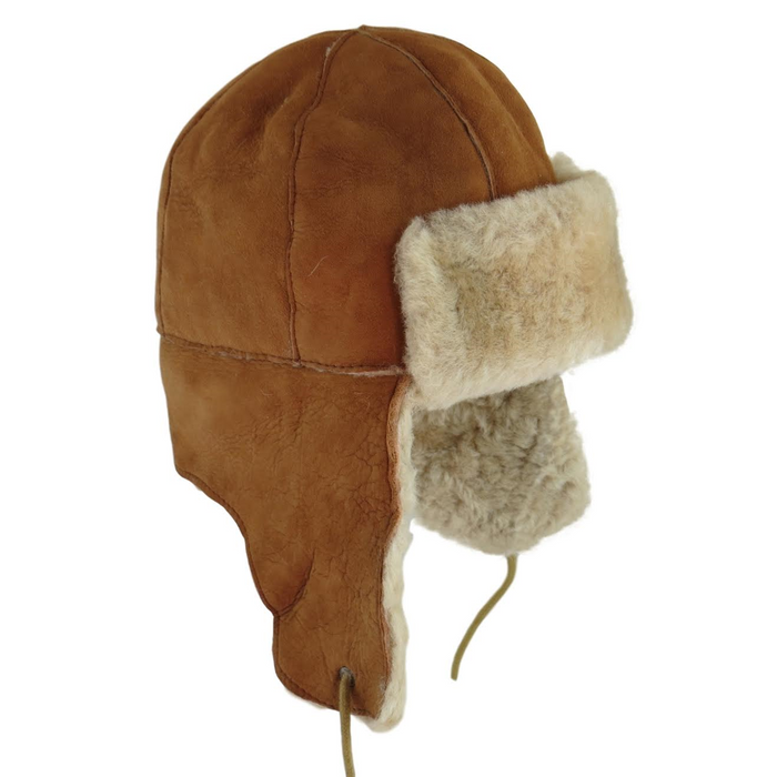 Mens Tan Double Faced Sheepskin Aviator Hat - Bourn Style