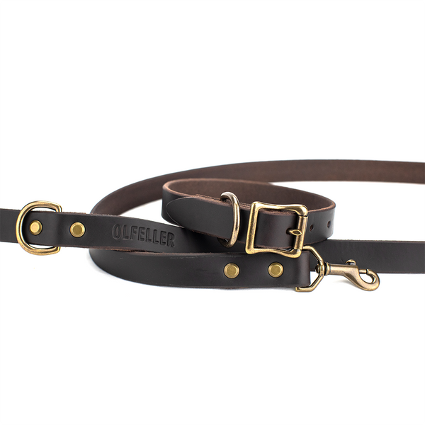 The Classic Leather Dog Collar & Leash Set
