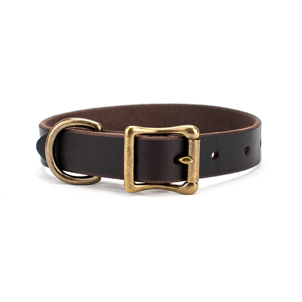 The Classic Leather Dog Collar Dark Chocolate