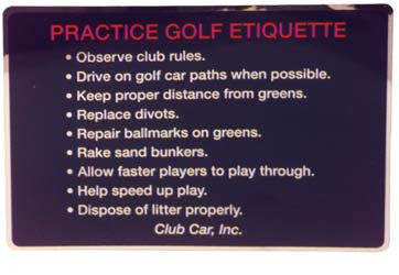 1013390 Golf Etiquette Decal - Club Car 1992 to 1997