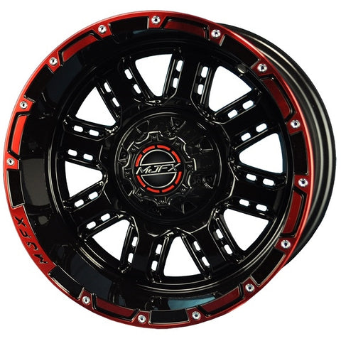 Golf Cart Rim TRANSFORMER 12 x 7 Black Red Wheel.