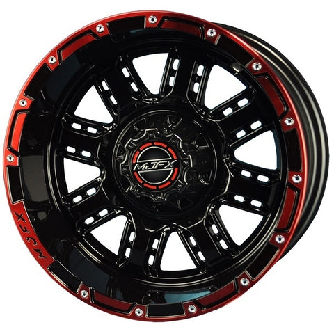 Golf Cart Rim TRANSFORMER 14 x 7 Black Red Wheel.