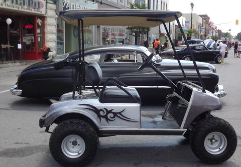 2001-Club-Car-Gas-Golf-Cart-Voodoo-Air-Paint-Tribal-High-Quality-Jake-Lift-Kit-All-terrain-tires-custom-roof-cartguy.ca-1