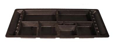 Black plastic under seat tray with small compartments. For Club Car electric 1982-up DS cars.