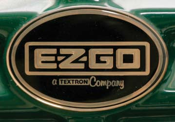 71289-G01 Name plate, Black & Gold - Ezgo ST350 Gas 1996 & Up