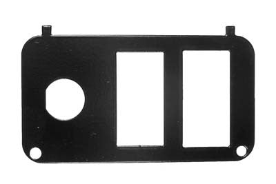 73030-G06 Black Steel Plate with Cut Outs for Key Switch, State of Charge Meter and Direction - Ezgo Electric 2001 & Up