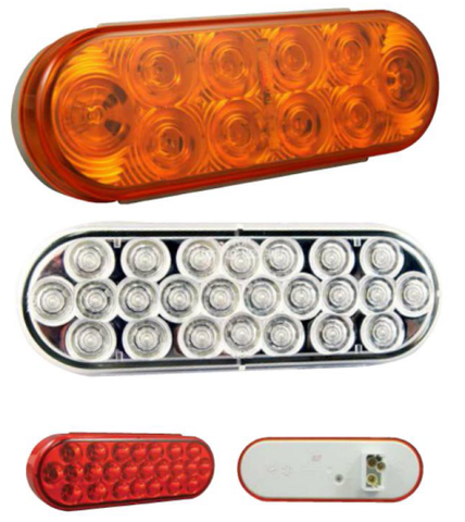 "812.120228 Led Light Oval 6 1/2"" Amber 24 Diode 2"