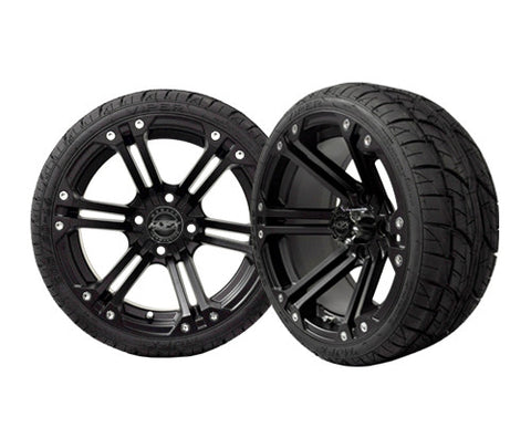 A19-004LP-Golf-Cart-Nitro-14-inch-Aluminum-Rim-Black-with-Viper-Low-Profile-Tire-Wheel-205-30-14-cartguy-madjax-ontario-canada