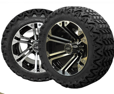 A19-005AT-Golf-Cart-Nitro-14-x-7-inch-rim-Machined-black-with-Predator-All-Terrain-Tire-23-10-14-cartguy-madjax-ontario-canada