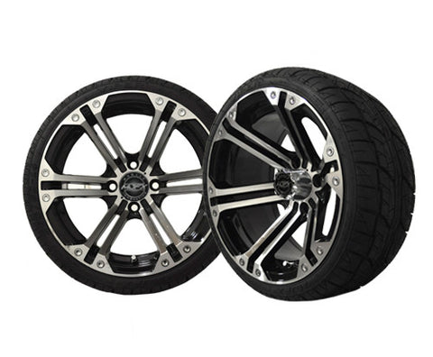 A19-005LP-Golf-Cart-Nitro-14-inch-Aluminum-Rim-Machined-Black-with-Viper-Low-Profile-Tire-Wheel-205-30-14-cartguy-madjax-ontario-canada