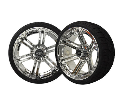 A19-006LP-Golf-Cart-Nitro-14-inch-Aluminum-Rim-Chrome-with-Viper-Low-Profile-Tire-Wheel-205-30-14-cartguy-madjax-ontario-canada
