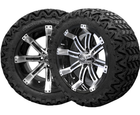A19-010AT-Golf-Cart-Octane-14-x-7-inch-rim-machined-black-with-Predator-All-Terrain-Tire-23-10-14-cartguy-madjax-ontario-canada