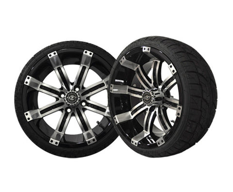 A19-010LP-Golf-Cart-Octane-14-x-7-inch-Aluminum-Rim-Machined-Black-with-Low-Profile-Viper-Tire-Wheel-205-30-14-cartguy-madajx-ontario-canada