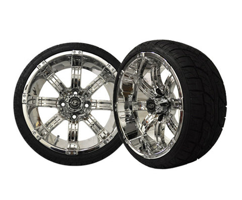 A19-011LP-Golf-Cart-Octane-14-x-7-inch-Aluminum-Rim-Chrome-with-Low-Profile-Viper-Tire-Wheel-205-30-14-cartguy-madajx-ontario-canada