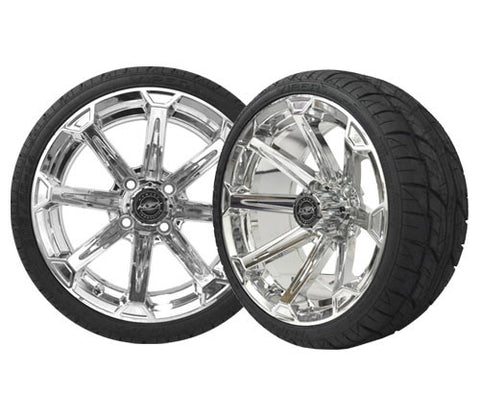 A19-015LP-Golf-Cart-Vortex-14-x-7-inch-Aluminum-Rim-Chrome-with-Viper-Low-Profile-Tire-Wheel-205-30-14-cartguy-madjax-ontario-canada