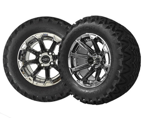 A19-019AT-Golf-Cart-12-inch-x-7-Vortex-Rim-Chrome-Black-Wheel-with-All-Terrain-Predator-Tire-23-10.5-12-cartguy-madjax-ontario-canada