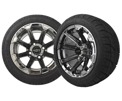 A19-019LP-Golf-Cart-12-inch-Vortex-Rim-Chrome-Black-Wheel-with-Low-Profile-Street-Viper-Tire-cartguy-madjax-ontario-canada