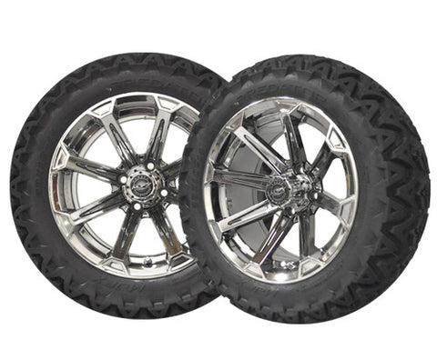 A19-020AT-Golf-Cart-Vortex-14-x-7-inch-rim-Chrome-black-with-Predator-All-Terrain-Tire-23-10-14-cartguy-madjax-ontario-canada