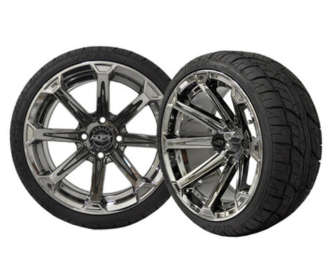 A19-020LP-Golf-Cart-Vortex-14-x-7-inch-Aluminum-Rim-Chrome-Black-with-Viper-Low-Profile-Tire-Wheel-205-30-14-cartguy-madjax-ontario-canada