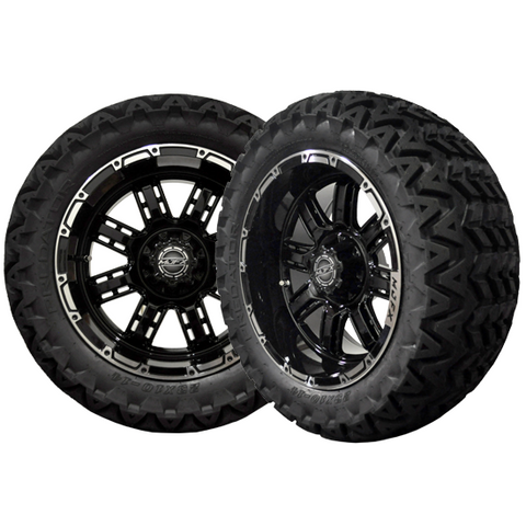 A19-032AT-Golf-Cart-Transformer-14-x-7-inch-rim-Machined-Black-with-Predator-All-Terrain-23-Tires-cartguy-madjax-ontario
