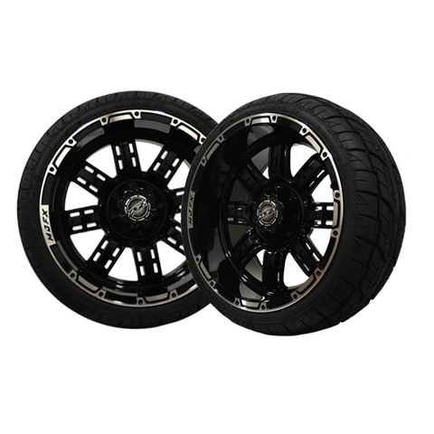 A19-032LP-Golf-Cart-Transformer-14-x-7-inch-rim-Machined-Black-with-Viper-Street-Tire-205-30-14-cartguy-madjax-ontario-canada