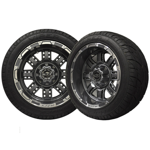 A19-034LP-Golf-Cart-Transformer-14-x-7-inch-rim-Machined-Gunmetal-Wheel-with-Viper-Street-Tire-205-30-14-cartguy-madjax-ontario-canada