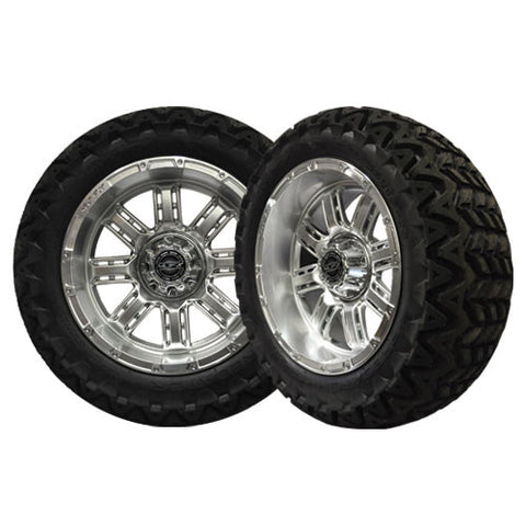 A19-038AT-Golf-Cart-Transformer-14-x-7-inch-rim-High-Gloss-Silver-Wheel-with-Predator-All-Terrain-23-inch-Tire-cartguy-madja