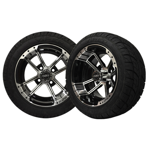 A19-062LP-Golf-Cart-12-inch-Apex-Machined-Gunmetal-Grey-Wheel-Low-Profile-Viper-Street-Tire-cartguy-madjax-ontario-canada