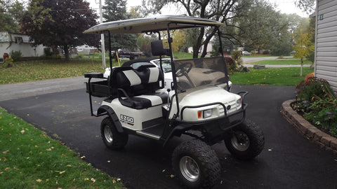 2007-Ezgo-Gas-Lifted-Golf-Cart-with-22-X-Trail-Tires-Flip-Flop-Back-Seat-with-Tuck-n-Hide-Cargo-Box-Extended-Fiberglass-Roof-Head-Lights-Tail-Lights-Custom-Front-Cowl-22