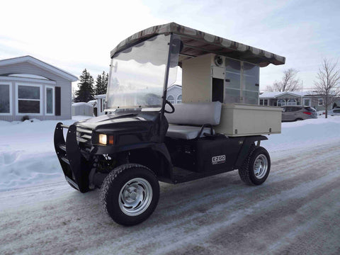 "Ezgo Gas 4 x 4 ST Sport Black Beverage Cart Golf Course with 12"" Aluminum Rims, Lights, Canopy 17"