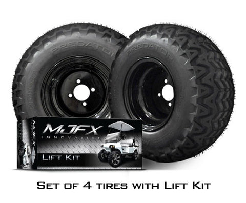 K20-007L1-Club-Car-Precedent-A-Arm-Lift-Kit-with-22-inch-Predator-All-Terrain-Tires-Black-Steel-Wheels