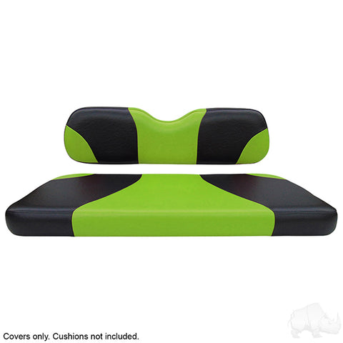 Sport Black/Green Two-Tone Rear Seat Covers