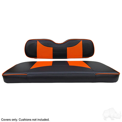 Rally Black/Orange Two-Tone Rear Seat Covers