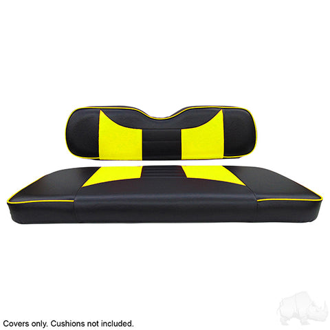 Rally Black/Yellow Two-Tone Rear Seat Covers