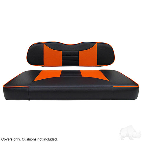 Rally Black/OrangeTwo-Tone Club Car DS Front Seat Covers (Fits 2000-Up)