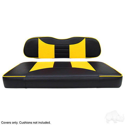 Rally Black/Yellow Two-Tone Club Car DS Front Seat Covers (Fits 2000-Up)